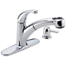 See Details - Chrome Single Handle Pull-Out Kitchen Faucet with Soap Dispenser