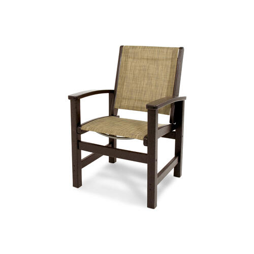 Mahogany & Burlap Coastal Dining Chair