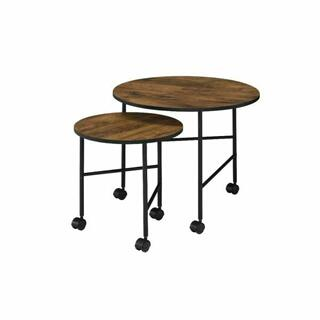 ACME Oblis 2Pc Pk Nesting Tables - 83150 - Industrial - Metal Tube (Iron), Paper Veneer (PU), PB - Vintage Oak