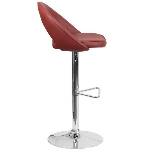 Contemporary Burgundy Vinyl Rounded Back Adjustable Height Barstool with Chrome Base