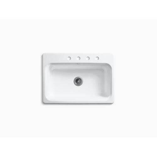 "Black Black 31"" X 22"" X 8-5/8"" Top-mount Single-bowl Kitchen Sink With 4 Faucet Holes"