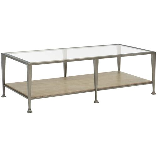 Santa Barbara Rectangular Metal Cocktail Table in Sandstone (385), Vintage Nickel Metal (385)