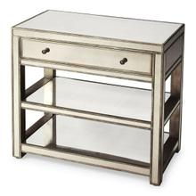 A console and chest all wrapped into one...This piece offers the best of both! A spacious drawer for storage and open shelves for displaying your favorite things. The mirror finish brings reflected light into every space and is finished in an antique go