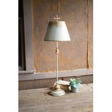 See Details - antique white & gold metal table lamp