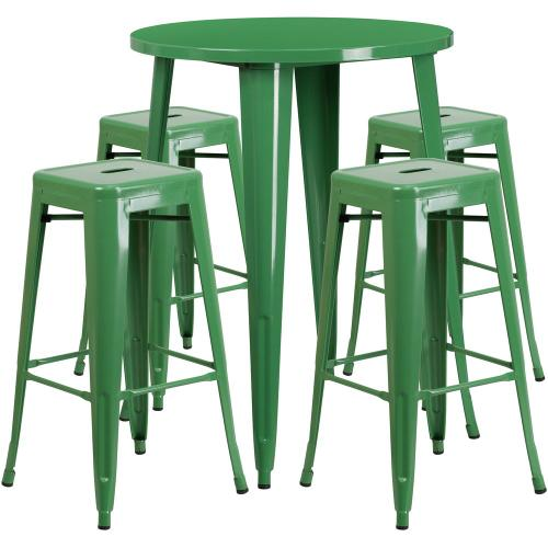 30'' Round Green Metal Indoor-Outdoor Bar Table Set with 4 Square Seat Backless Stools