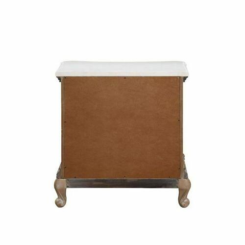 ACME Teagan Nightstand (Marble Top), Oak - 22093