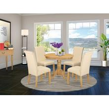 5Pc Small Round table with linen beige fabric kitchen chairs with oak chair legs