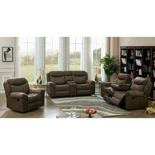 Sawyer Transitional Light Brown Three-piece Living Room Set