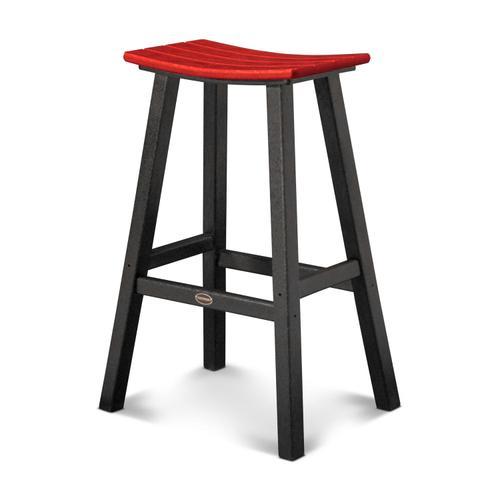"Black & Sunset Red Contempo 30"" Saddle Bar Stool"