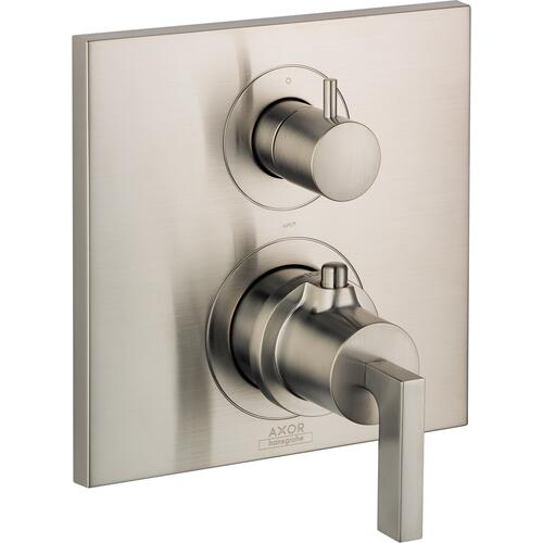 AXOR - Brushed Nickel Thermostatic Trim with Volume Control and Diverter