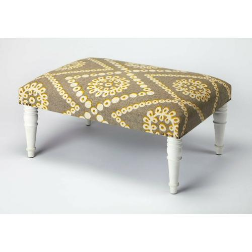 Use this Upholstered Cocktail Ottoman as a seat or as a footstool in your living or entertainment area. With its substantial surface area, it can also be used as a coffee table. Its mango wood solids legs support a stylish, upholstered urethane foam and cotton top, with nail head trim.