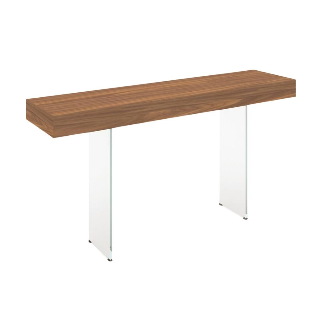 The Il Vetro Console Table In Walnut Veneer With Clear Glass
