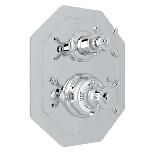 Edwardian Octagonal Concealed Thermostatic Trim with Volume Control - Polished Chrome with Cross Handle