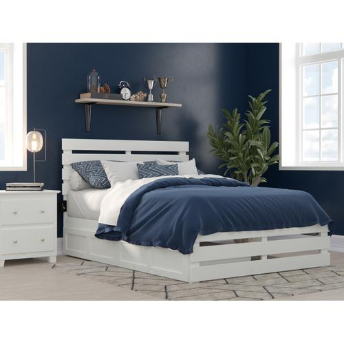 Atlantic Furniture - Oxford Full Bed with Footboard and USB Turbo Charger with 2 Drawers in White