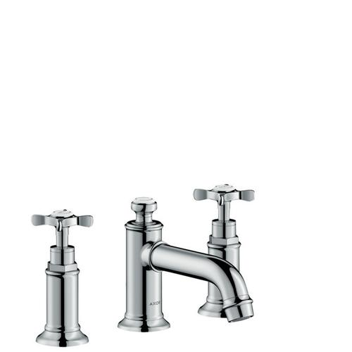 Chrome 3-hole basin mixer 30 with cross handles and pop-up waste set