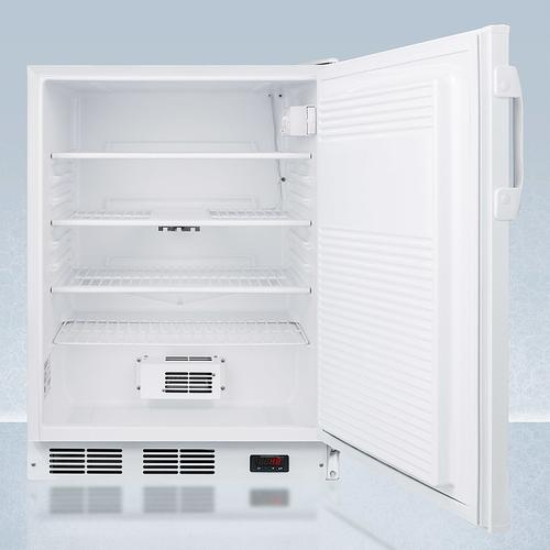 """ADA Compliant 24"""" Wide Auto Defrost Commercial All-refrigerator With Lock, Digital Thermostat, Internal Fan, and Access Port for User-provided Monitoring Equipment"""