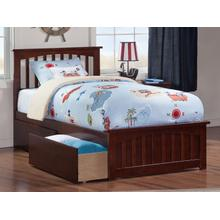 Mission Twin Bed with Matching Foot Board with 2 Urban Bed Drawers in Walnut