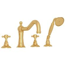 See Details - Acqui 4-Hole Deck Mount Column Spout Tub Filler with Handshower - Italian Brass with Cross Handle