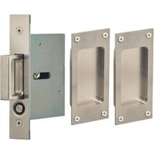 Passage Pocket Door Lock with Modern Rectangular Trim featuring Mortise Edge Pull in (US32D Satin Stainless Steel)