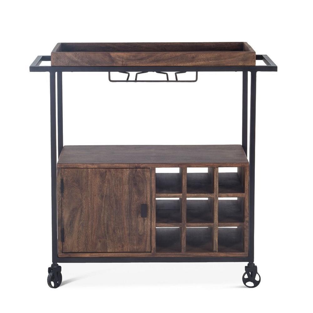 Industrial Modern Bar Cart Tawny Brown