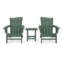 View Product - Wave 3-Piece Adirondack Chair Set in Green