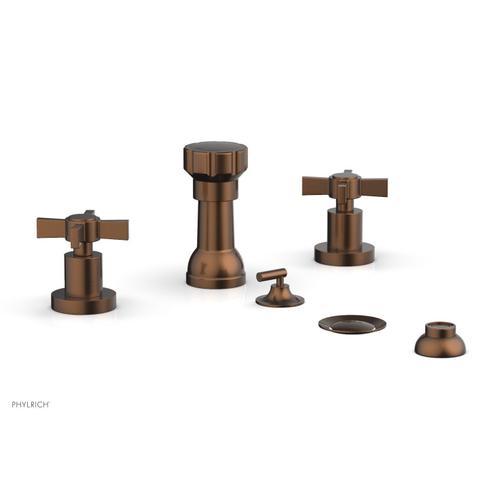 BASIC Four Hole Bidet Set - Blade Cross Handles D4137 - Antique Copper