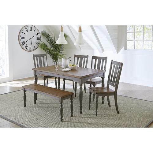 Dining Chairs, Set of 2 - Oak/Brushed Gray Finish