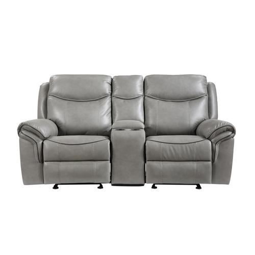 Homelegance - Double Glider Reclining Love Seat with Center Console, Receptacles and USB Ports