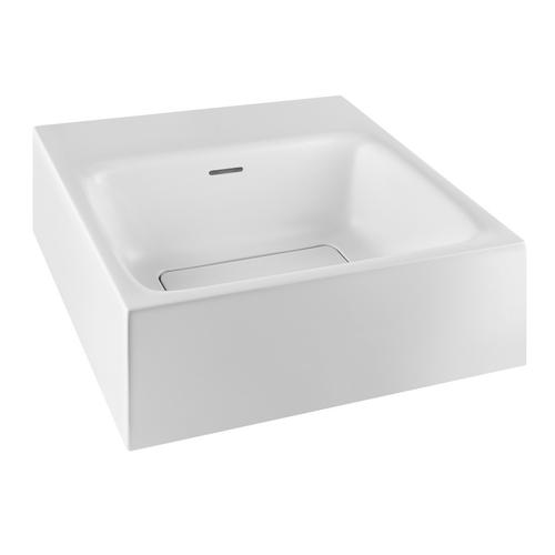 """Wall-mounted or counter top washbasin in Cristalplant® Matte white With overflow waste L 1' 4-9/16"""" W 1' 4-9/16"""" H 5-7/8"""" N o holes for faucet and fittings, fit for single or 3 holes faucet CSA certifiedPlease contact Gessi USA for freight terms"""