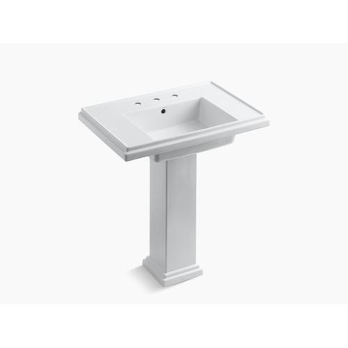 """Thunder Grey 30"""" Pedestal Bathroom Sink With 8"""" Widespread Faucet Holes"""