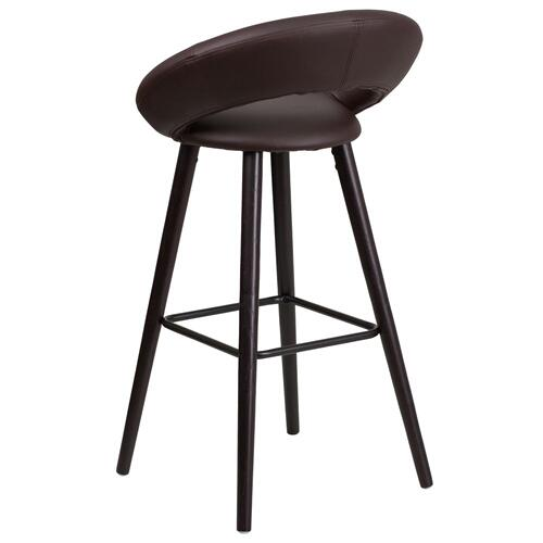 Alamont Furniture - 29'' High Contemporary Cappuccino Wood Barstool in Brown Vinyl