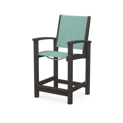 Polywood Furnishings - Coastal Counter Chair in Vintage Coffee / Aquamarine Sling