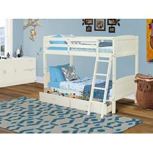 West Furniture Albury Twin Bunk Bed in White Finish with Under Drawer