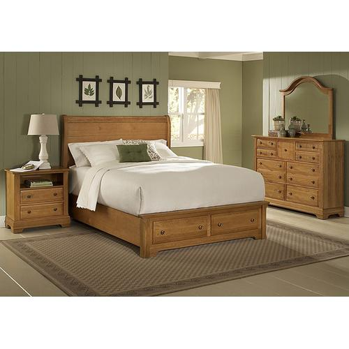 Vaughan-Bassett - Queen Sleigh Bed with Footboard Storage (finish not as shown)