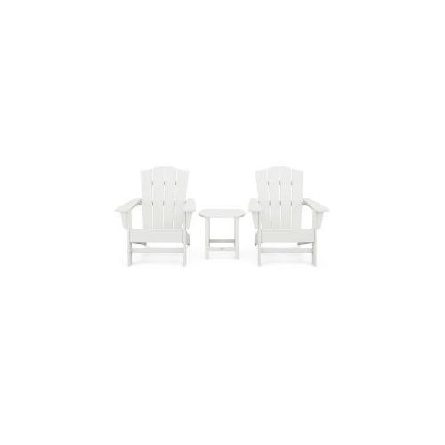 Polywood Furnishings - Wave 3-Piece Adirondack Chair Set with The Crest Chairs in Vintage White
