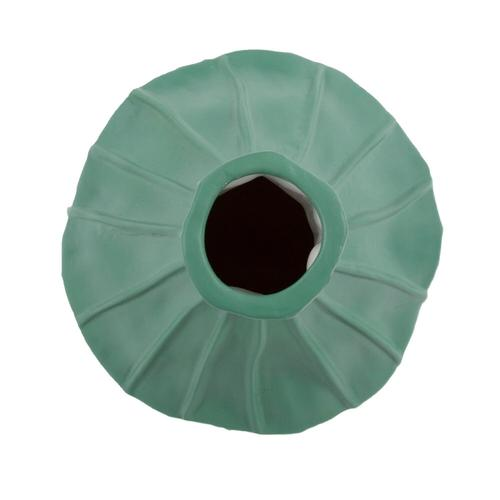 Howard Elliott - Emerald Green Ribbed Ceramic Bottle