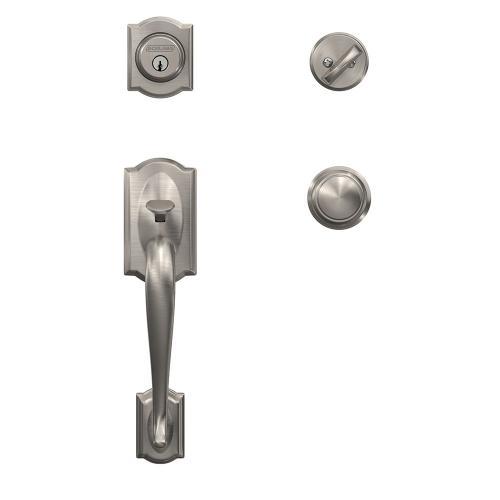 Custom Camelot Single Cylinder Handleset and Interior Andover Knob with Alden Trim - Satin Nickel