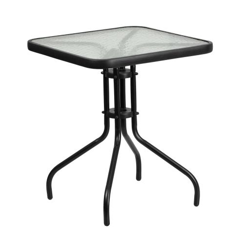 23.5'' Square Tempered Glass Metal Table
