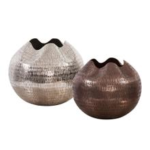 View Product - Textured Deep Copper Aluminum Pinched Top Globe Vase, Small