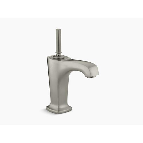 """Vibrant Brushed Nickel Single-hole Bathroom Sink Faucet With 5-3/8"""" Spout and Lever Handle"""