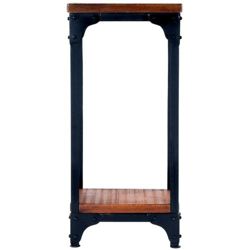 Butler Specialty Company - Hand-crafted from iron and solid mango wood, this distinctive pedestal stand is small in stance, yet rugged in appearance. Its black iron frame and burnt umber wood finish on the top and lower display shelf complement each other well.