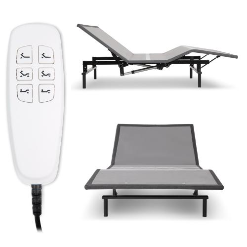Leggett and Platt - Pro-Motion 2.0 Low-Profile Adjustable Bed Base with Simultaneous Movement and MicroHook Technology, Charcoal Gray Finish, Full