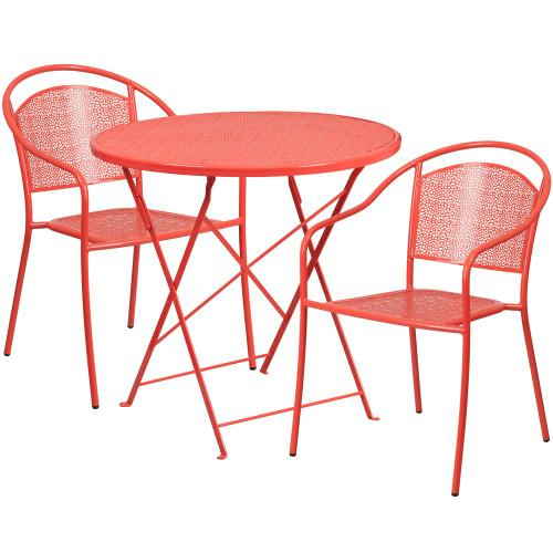 30'' Round Coral Indoor-Outdoor Steel Folding Patio Table Set with 2 Round Back Chairs