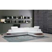 Divani Casa Killian Modern White Italian Leather Sectional Sofa
