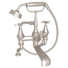 View Product - Deco Exposed Deck Mount Tub Filler with Handshower - Satin Nickel with Cross Handle