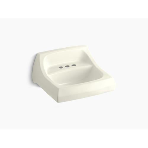 """Biscuit 21-1/4"""" X 18-1/8"""" Wall-mount/concealed Arm Carrier Bathroom Sink With 4"""" Centerset Faucet Holes"""