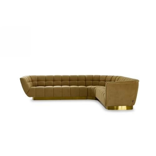 VIG Furniture - Divani Casa Granby - Glam Mustard and Gold Fabric Sectional Sofa