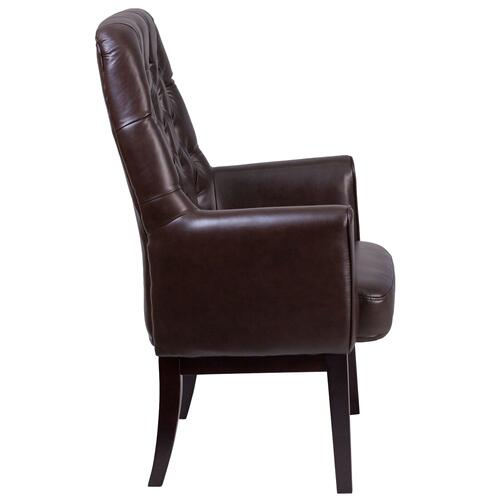 Alamont Furniture - High Back Traditional Tufted Brown Leather Side Reception Chair