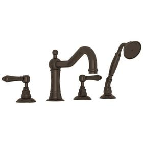 Tuscan Brass Acqui 4-Hole Deck Mount Column Spout Tub Filler With Handshower with Metal Lever