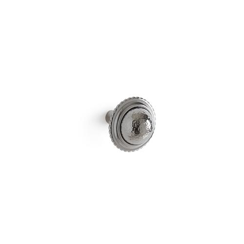 Polished Nickel Hammered Beaded Cabinet and Drawer Knob